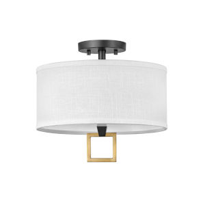 Link Black Two-Light LED Semi-Flush Mount with Off White Linen Shade