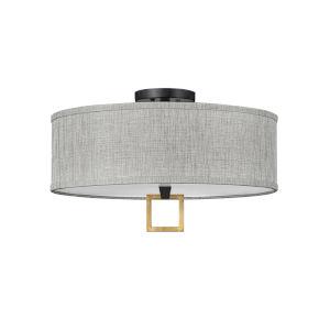 Link Black 18-Inch Three-Light LED Semi-Flush Mount