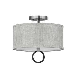 Link Brushed Nickel Two-Light LED Semi-Flush Mount with Heathered Gray Slub Shade