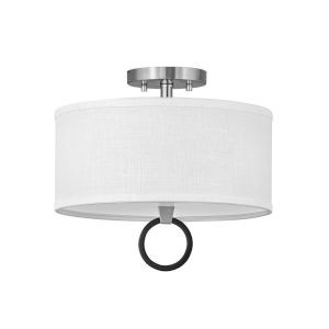Link Brushed Nickel Two-Light LED Semi-Flush Mount with Off White Linen Shade