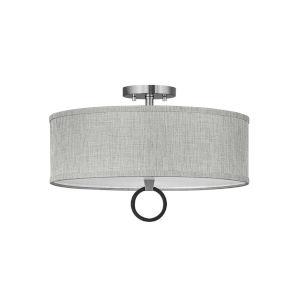 Link Brushed Nickel Three-Light LED Semi-Flush Mount with Heathered Gray Slub Shade