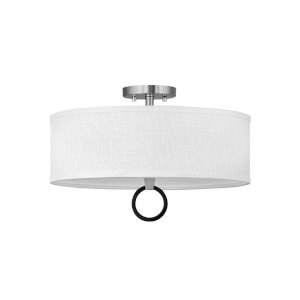 Link Brushed Nickel Three-Light LED Semi-Flush Mount with Off White Linen Shade