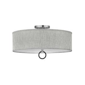 Link Brushed Nickel Four-Light LED Semi-Flush Mount with Heathered Gray Slub Shade