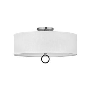 Link Brushed Nickel Four-Light LED Semi-Flush Mount with Off White Linen Shade