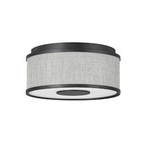Halo Black Two-Light LED Flush Mount with Heathered Gray Slub Shade