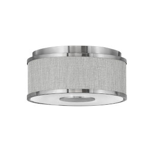 Halo Brushed Nickel Two-Light LED Flush Mount with Heathered Gray Slub Shade