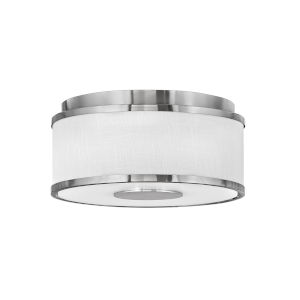 Halo Brushed Nickel Two-Light LED Flush Mount with Off White Linen Shade