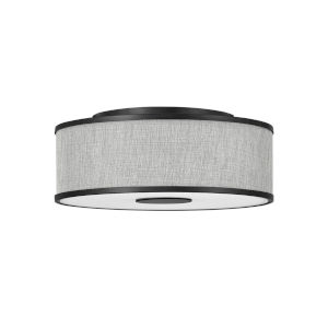 Halo Black Three-Light LED Flush Mount with Heathered Gray Slub Shade