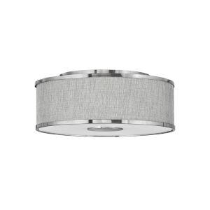 Halo Brushed Nickel Three-Light LED Flush Mount with Heathered Gray Slub Shade
