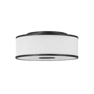 Halo Black Three-Light LED Flush Mount with Off White Linen Shade