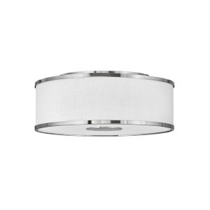 Halo Brushed Nickel Three-Light LED Flush Mount with Off White Linen Shade