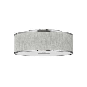 Halo Brushed Nickel Four-Light LED Flush Mount with Heathered Gray Slub Shade