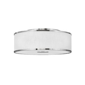 Halo Brushed Nickel Four-Light LED Flush Mount with Off White Linen Shade