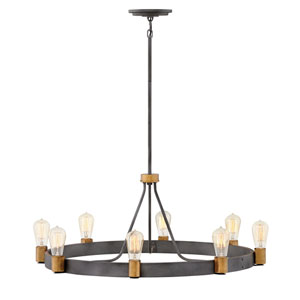 Silas Aged Zinc Eight-Light Chandelier