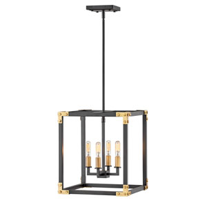 Louis Satin Black 14-Inch Four-Light Chandelier