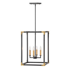 Louis Satin Black 17-Inch Four-Light Chandelier