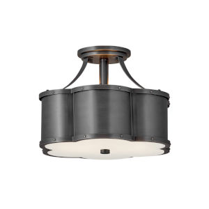 Chance Blackened Brass Two-Light Semi-Flush Mount
