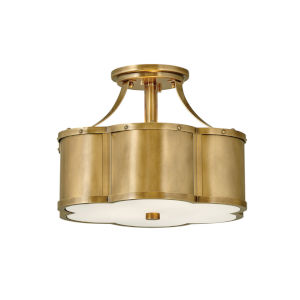 Chance Heritage Brass Two-Light Semi-Flush Mount