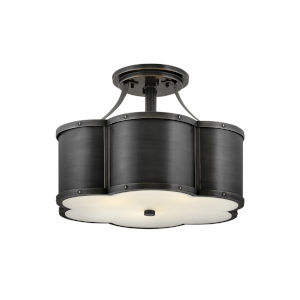 Chance Blackened Brass Three-Light Foyer Semi-Flush Mount With Etched Lens Glass