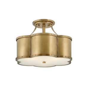 Chance Heritage Brass Three-Light Foyer Semi-Flush Mount With Etched Lens Glass