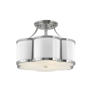 Chance Polished Nickel Three-Light Foyer Semi-Flush Mount With Etched Lens Glass