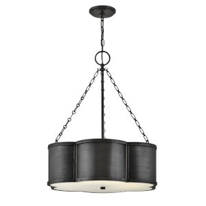 Chance Blackened Brass Three-Light Pendant With Etched Lens Glass