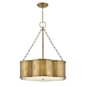 Chance Heritage Brass Three-Light Pendant With Etched Lens Glass