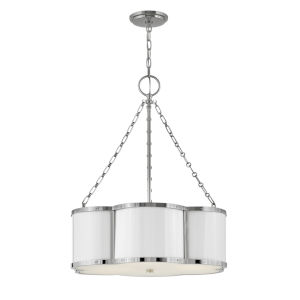 Chance Polished Nickel Three-Light Pendant With Etched Lens Glass