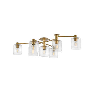 Axel Heritage Brass Seven-Light Foyer Semi-Flush Mount With Clear Glass