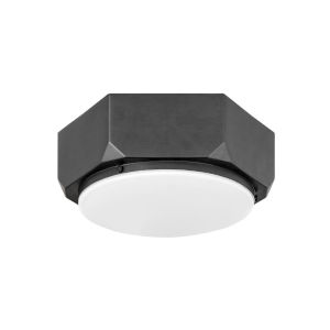 Hex Brushed Graphite Two-Light Flush Mount