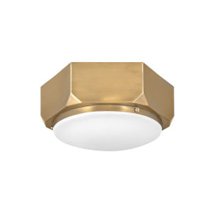 Hex Warm Brass Two-Light Flush Mount