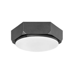 Hex Brushed Graphite Three-Light Flush Mount