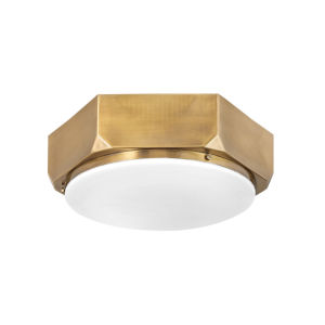 Hex Warm Brass Three-Light Flush Mount