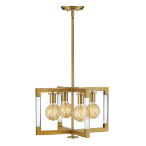 Kellen Lacquered Brass Four-Light Semi-Flush Mount