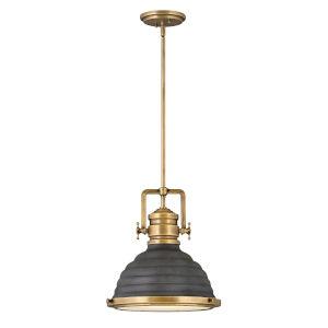 Keating Heritage Brass With Aged Zinc One-Light Pendant