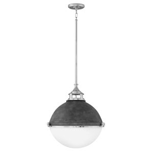 Fletcher Aged Zinc with Polished Nickel Two-Light Pendant