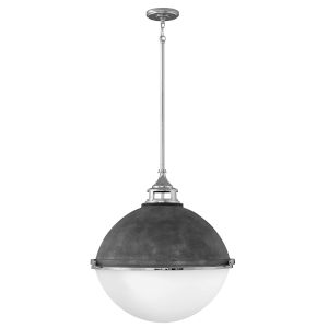 Fletcher Aged Zinc with Polished Nickel Three-Light Pendant