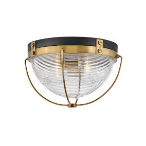 Crew Heritage Brass Two-Light Foyer Flush Mount With Clear Ribbed Glass