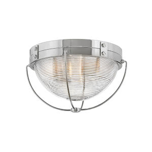 Crew Polished Nickel Two-Light Foyer Flush Mount With Clear Ribbed Glass