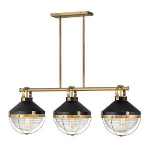 Crew Heritage Brass Three-Light Chandelier