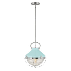 Crew Blue Polished Nickel 12-Inch One-Light Pendant