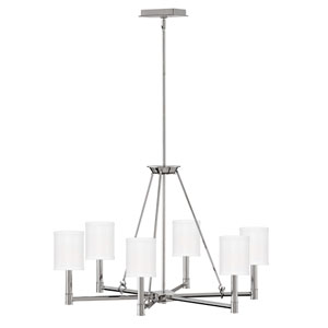 Buchanan Polished Nickel 28-Inch Six-Light Chandelier