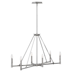Buchanan Polished Nickel 34-Inch Six-Light Chandelier