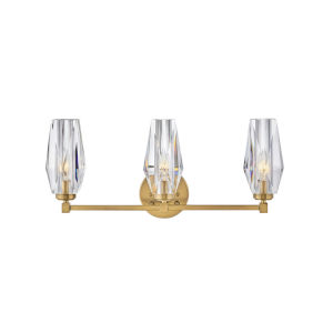 Ana Heritage Brass Three-Light Bath Vanity With Faceted Clear Crystal Glass