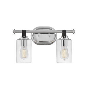 Halstead Chrome Two-Light Bath Vanity With Clear Glass