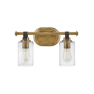 Halstead Heritage Brass Two-Light Bath Vanity With Clear Glass