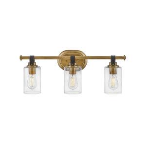 Halstead Heritage Brass Three-Light Bath Vanity With Clear Glass