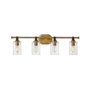 Halstead Heritage Brass Four-Light Bath Vanity With Clear Glass