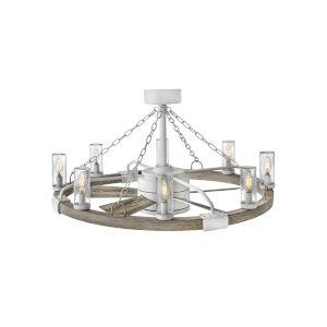 Sawyer Matte White 36-Inch Smart Eight-Light LED Indoor Outdoor Fan