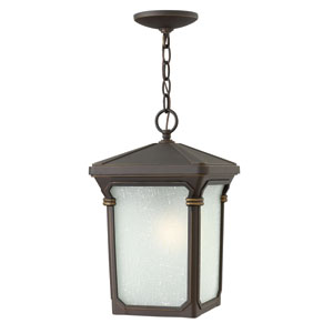 Stratford Oil Rubbed Bronze 15.5-Inch One-Light Outdoor Hanging Pendant